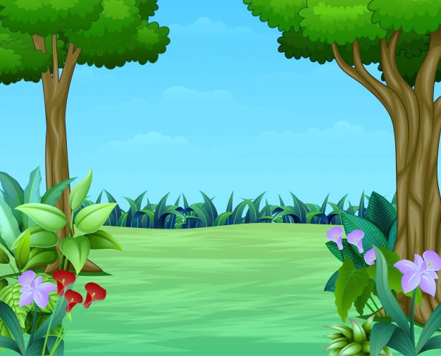 Dibujos animados de la escena de la naturaleza con hermoso ...
