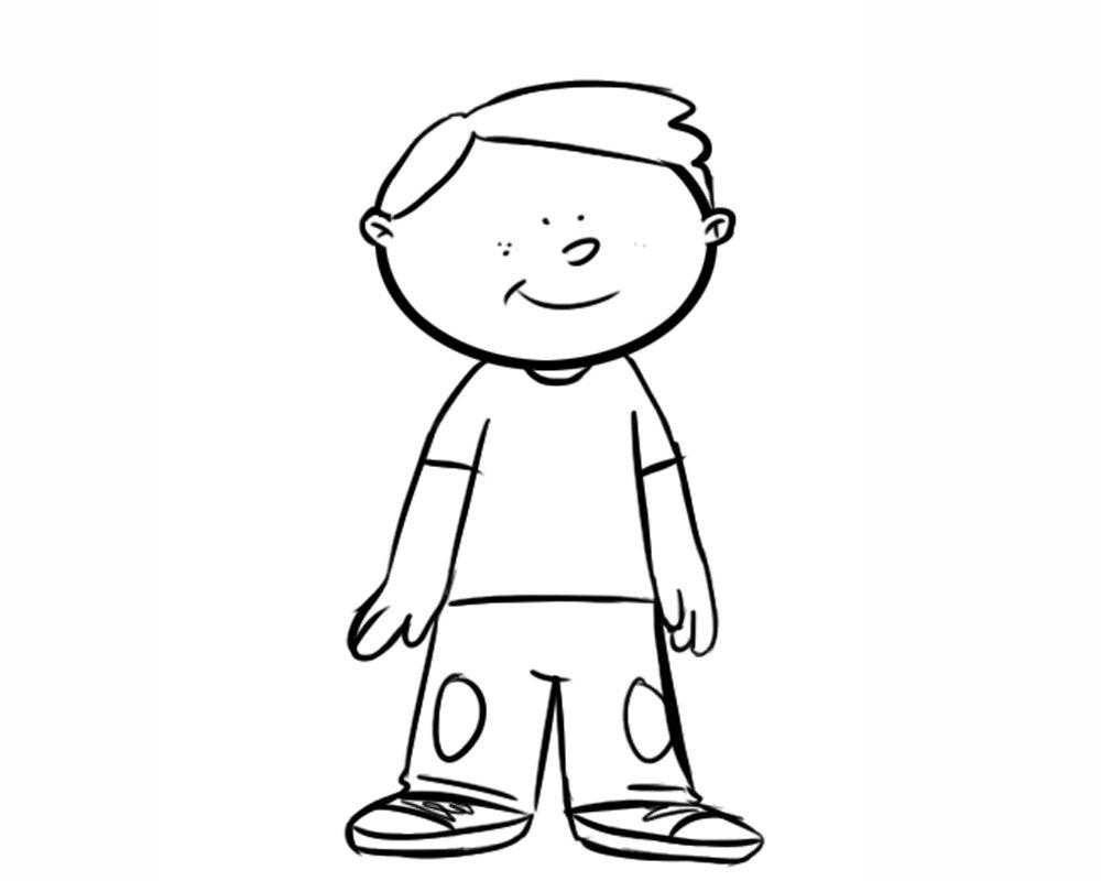 Descripción: Dibujo para colorear de un niño contento